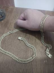 Cordão e pulseira ouro (Moeda antiga)