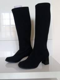 Bota feminina tecido ajustável