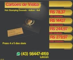 Cartão de visita hot stamping Dourado Frente e verso! São Paulo