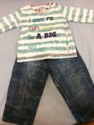 Calça jeans alfabeto e casaco teddy menino 1 ano