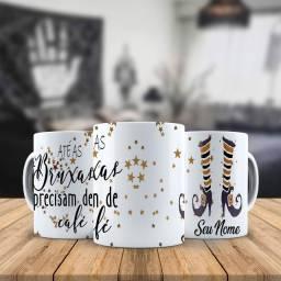 Ate as Bruxas Precisam de Cafe Caneca Personalizada Com o nome que desejar