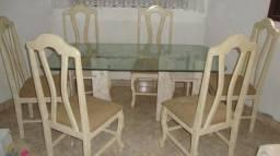Mesa em base de mármore travertino com vidro bisotado , 6 cadeiras