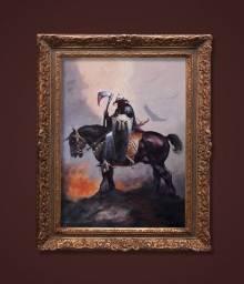 Pintura Arte Original óleo sobre tela Fantasia Death Black Metal Frazetta