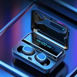 Fone de ouvido sem fio F9 a prova d´agua com case de carregamento e display led.