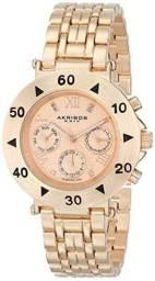 Relógio Importado Akribos XXIV feminino Quartz Multifunction Diamond com detalhes em rose