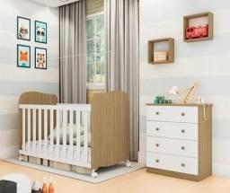 Promoção - Quarto Infantil Com Cômoda Junior e Berço Uli - Móveis Peroba