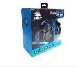 Fone De Ouvido Knup Headset Gamer Preto C/ Azul Pc/p4/x-one