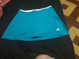 Short saia adidas azul e branco