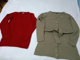 Casaco e blusa de Lã  tam G - lote