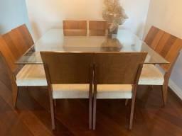 Mesa Sala De Jantar Quadrada Com Tampo De Vidro E 8 Cadeiras