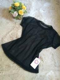 Blusa transparente e crooped preto