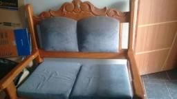 Vendo jogo de sofa madeira