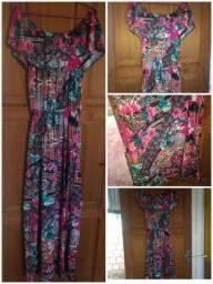 Vestido longo estampado tecido simples