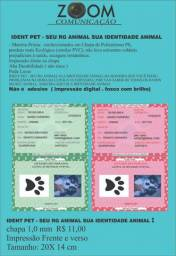 Identidade Animal, Rg Pet, Registro Pet 20x14cm 1m Ps-pvc