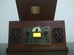 Toca-discos + Fita K7 + Rádio AM/FM + CD Player + Entrada USB e SDCard