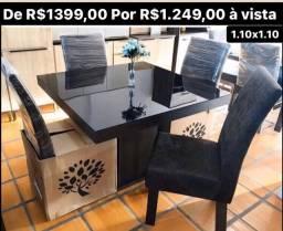 Promoção Mesa nova tampo de vidro + cadeiras