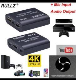 Placa de captura de vídeo, saída de áudio mic-4k / 1080p usb 2.0 ,transmissão ao vivo-