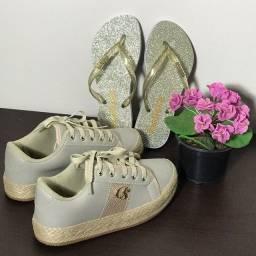 Kit tênis e chinelo glitter