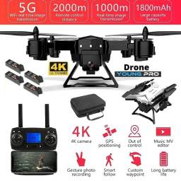 Drone Young Pro 2020 -Distância 2.000m-120mAt-4Kcâmera -4 Baterias - 4 motores reserva