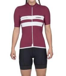 Camiseta Feminina Ciclismo Squadra Marsala Vermelho Woom