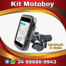 Carregador celular smartphone e bolsa kit motoboy