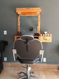 Bancada retrô  com suportes e led + cadeira barbearia ou salão