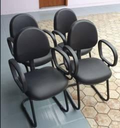 4 Cadeiras Fixa Secretária Executiva