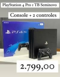 Título do anúncio: Ps4 Playstation 4 Pro 1tb Perfeito Estado com 2 Controles / Aceitamos Trocas LEIA