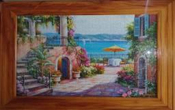 Quadro paisagem vila e praia