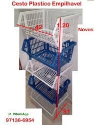 10 Cestos Plastico Empilhavel- Novo- Oficina Loja Padaria Sacolão