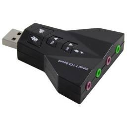 Placa USB de SOM 7.1 para PC ou Notebook