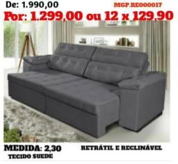 Sofa Retratil e Reclinavel 2,30 em Suede- Sofa Grande- Sofa Barato-Liquida Maringa
