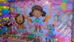 Título do anúncio: Aluguel de painel bolo fake e Roupas circo rosa luxo