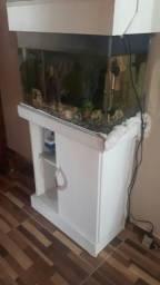Vendo 01 aquário 80 litros completo com móvel branco