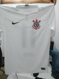 Camisa oficial do corinthians branco/preto tamanho ( g)
