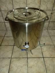 Panela Cerveja Artesanal 125 L Inox 304 com Valvula, Termômetro e Cagafogo