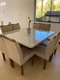 Título do anúncio: Mesa de jantar 8 cadeiras, tampo de vidro fosco