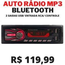 Auto Radio Bluetooth 2 Saidas USB/Rca/Controle Remoto