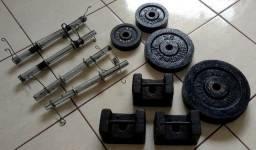 Conjunto de anilhas e barras com presilhas