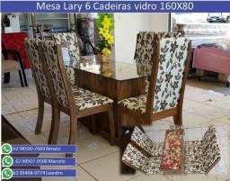 Mesa Lary Viero vidro 160X80 6 Cadeiras