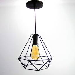 Pendente diamante preto aramado + lâmpada retrô