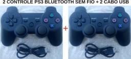 2 Controle Ps3 Joystick Sem Fio Bluetooth Dualshock 3 + Cabo