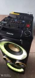 Caixa fhilips 1000 watts RMS bluetooth USB cd mp3 rádio AM FM alcilia efeito DJ Mix