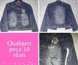 Vendo Linda Jaqueta Jeans com rosa bordada tam 10