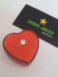 Anel solitário (anel de compromisso) ouro 18k
