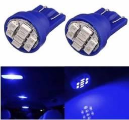 Kit 2 Lâmpadas T10 8 Led Azul Pingo Luz