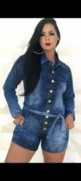 Macaquinho manga longa jeans feminino