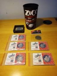 Kit completo de moedas do Zico 5 tempos