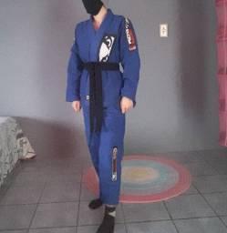 "Kit Jiu Jitsu ""Kimono + 1 Faixa Preta Novos"" Bad Boy + Budô"