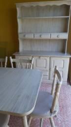 Jogo de mesa e armário madeira platina!